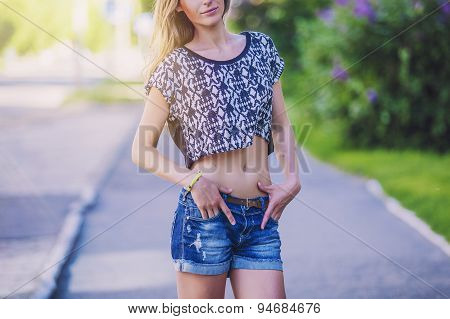 Woman Free Happy Walking In A Summer Town