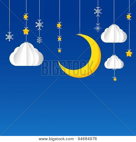 Hanging Star Moon Cloud  Snow On Night Sky Background 002