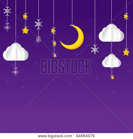 Hanging Star Moon Cloud  Snow On Night Sky Background