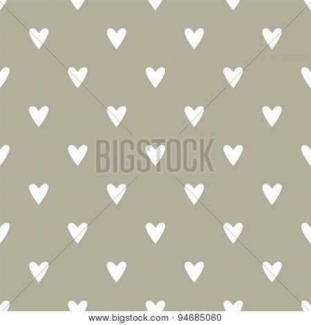 Tile cute vector pattern with hand drawn white hearts on dark grey background
