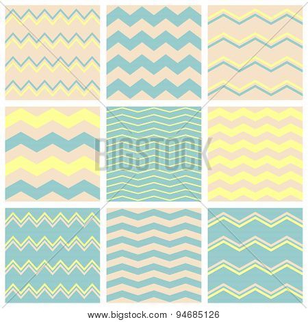 Tile vector pattern set with beige, pastel blue or green and yellow zig zag print background