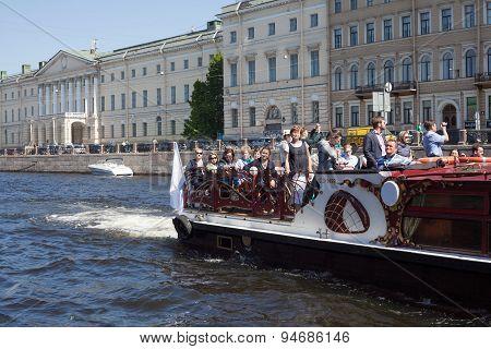 Excursion boat on Fontanka river