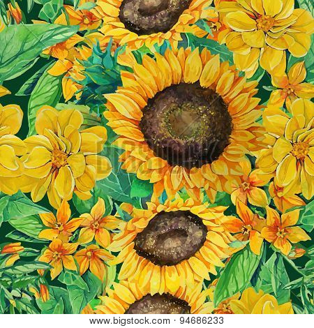 seamless pattern of watercolor sunflowers  with flowers and gree