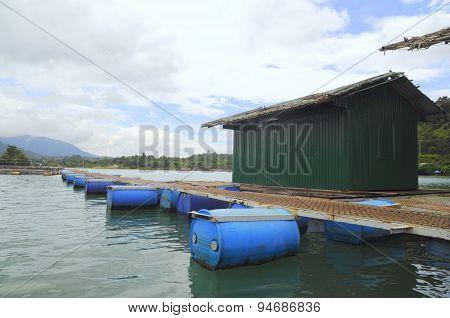 Lam Dong, Vietnam - September 2, 2012: Sturgeon Cage Farming In Tuyen Lam Lake In Da Lat City