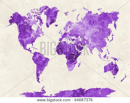 World Map In Watercolor Purple