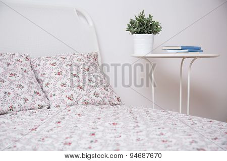 White Bed And Nightstand