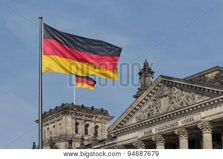 German flag on Reichstag building, Berlin