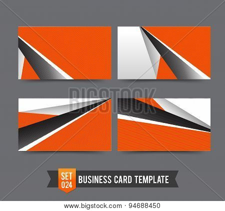 Business Card Template Set  024 Orange Abstract Background
