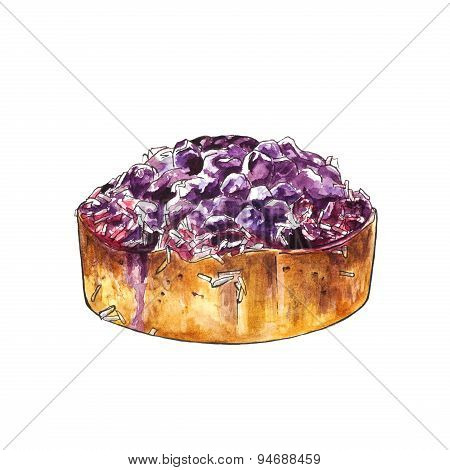 Watercolor blueberry cake with coconut