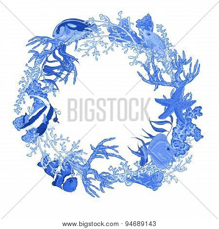 Blue Sea life Vintage Round Frame with Fish and Seaweed.