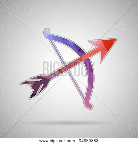 Abstract Creative concept vector icon of bow with arrows for Web and Mobile Applications isolated on