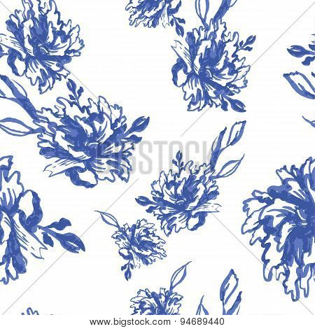 Seamless monochrome watercolor background with blue peonies