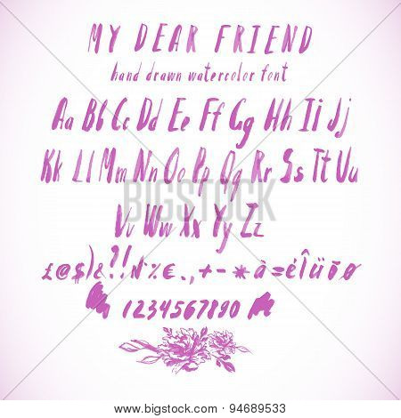 Pink Vector Watercolor Alphabet, Hand Drawn Font
