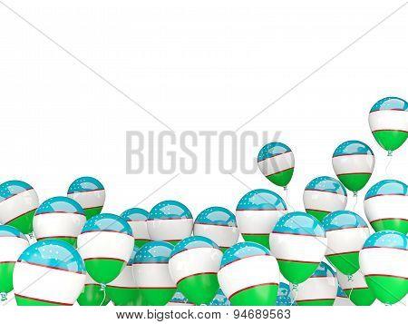 Flying Balloons With Flag Of Uzbekistan
