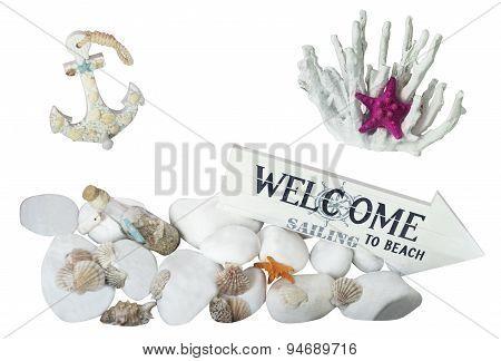 Sea Stones, Shells, Corals, Anchor