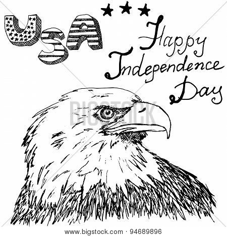 American Bald Eagle And Drum With Drumstiks, Usa Symbols, Forth Of July, Hand Drawn Sketch, Text Hap