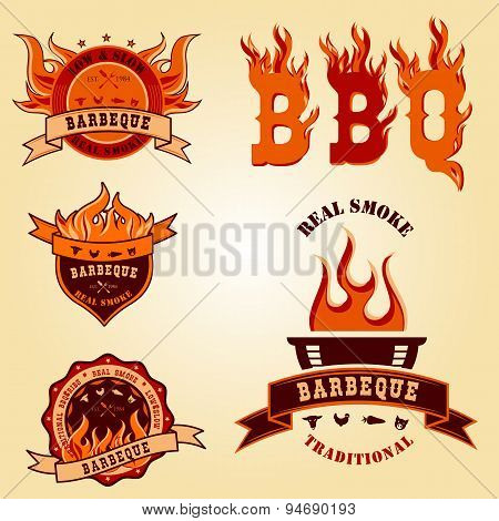 Illustration set of BBQ logo labels Badge designs