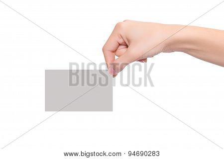 Women Hand Hold Blank Business Card