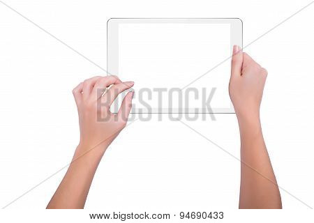 Woman Working On White Tablet