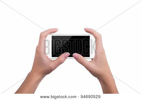 Girl Holding The White Phone With Both Hands
