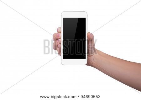Girl Is Holding A White Phone In Her Right Hand