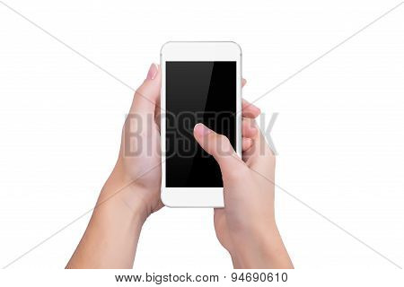 Girl Presses The White Phone Screen Finger Of A Hand