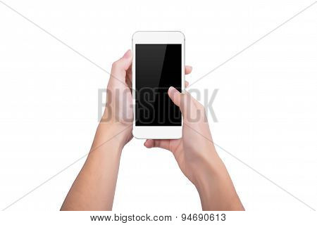 Girl Presses The White Phone Screen Finger