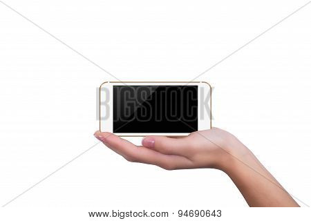 Gold Phone Lying On The Hand Of The Girl