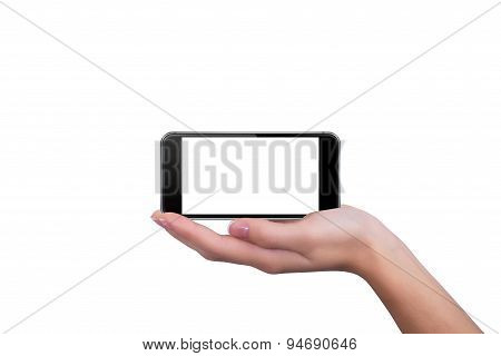 Phone Lying On The Hand Of The Girl