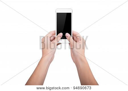 Woman Holding A White Mobile Phone