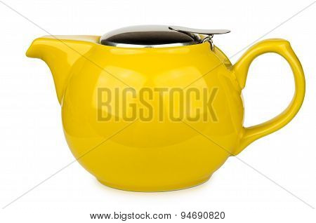 Yellow Glass Teapot With Metal Lid