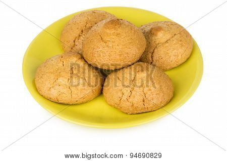 Nut-almond Biscuits In Yellow Saucer