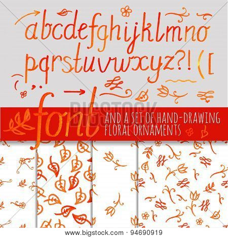 orange color calligraphic font