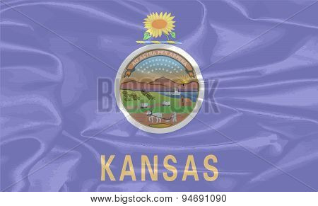 Kansas State Silk Flag