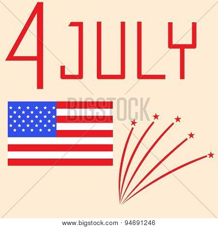 Us Independence Day - July 4Th. Vector Illustration.