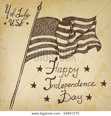 Usa Waving Flag, American Symbol, Forth Of July, Hand Drawn Sketch, Text Happy Independence Day, Vec