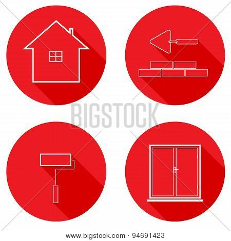 Flat Icons Line Housing Construction. Vector Illustration.