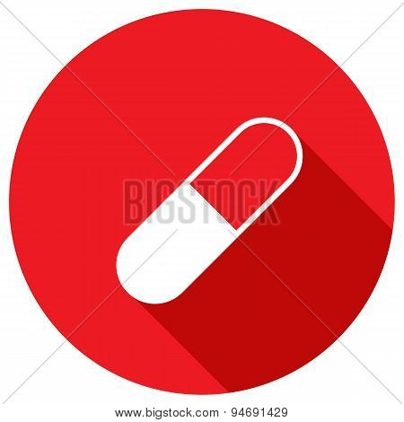 Drug Tablet. Vector Illustration Of The Plane Icon With Long Shadow.