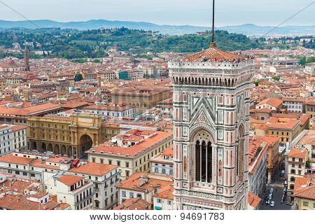 bell tower of cathedral church, Florence, Italy
