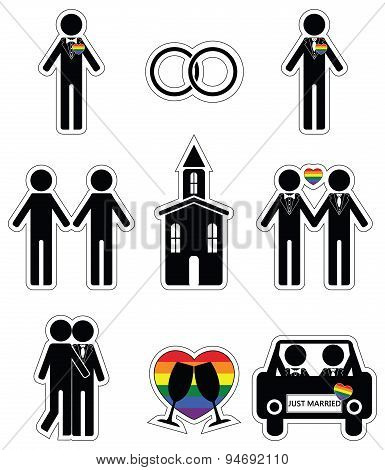 Gay man 2 wedding icon set in black and white with rainbow element