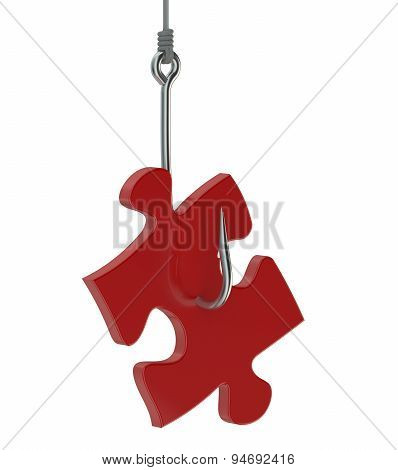 Red Puzzle On Fishing Hook