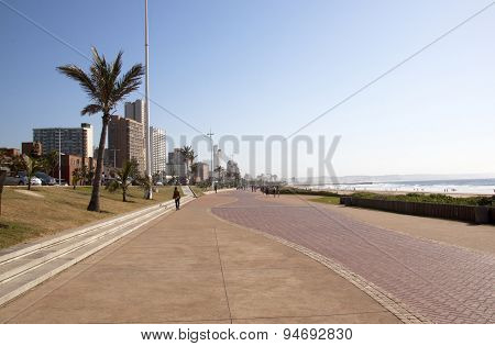 Early Morning Beach Front Promenade In Durban South Africa