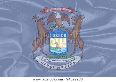 Michigan State Silk Flag
