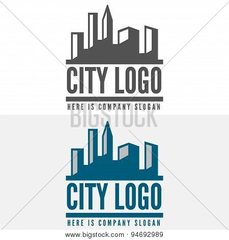 Logo, badge, label, logotype elements with buildings for web, business or other projects
