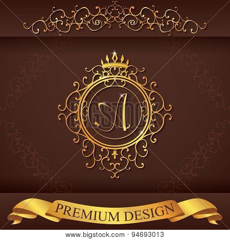 Letter A. Luxury Logo Template Flourishes Calligraphic Elegant Ornament Lines. Business Sign, Identi