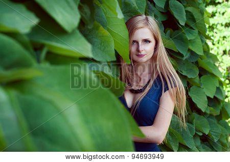 Beautiful blonde woman hiding in huge ivy leaves