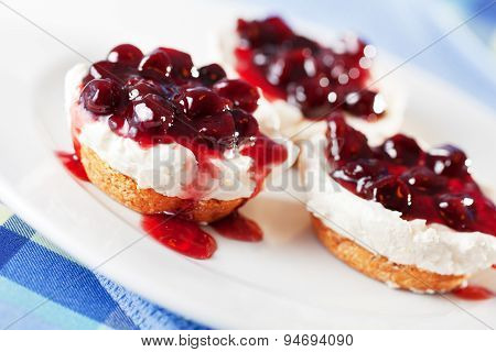 Mini Cheese Cakes With Cranberries