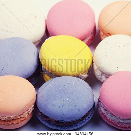 Colorful French Macaron Cookies Close Up, Square Image