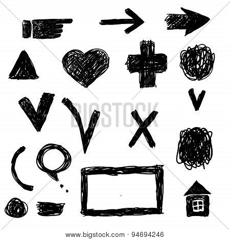 Vector set of grunge triangle brush strokes