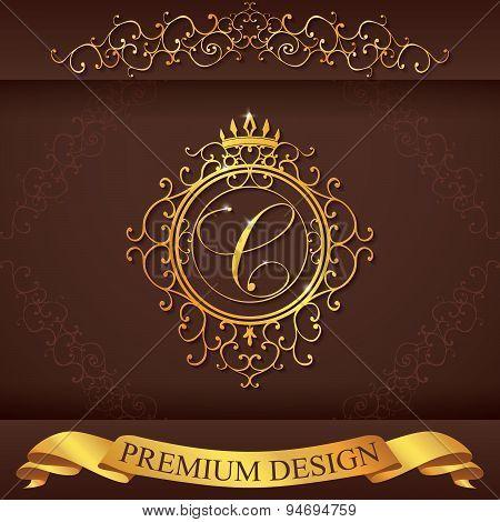Letter C. Luxury Logo Template Flourishes Calligraphic Elegant Ornament Lines. Business Sign, Identi